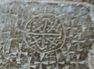 Carved into the wall at the Church of the Holy Seplechur